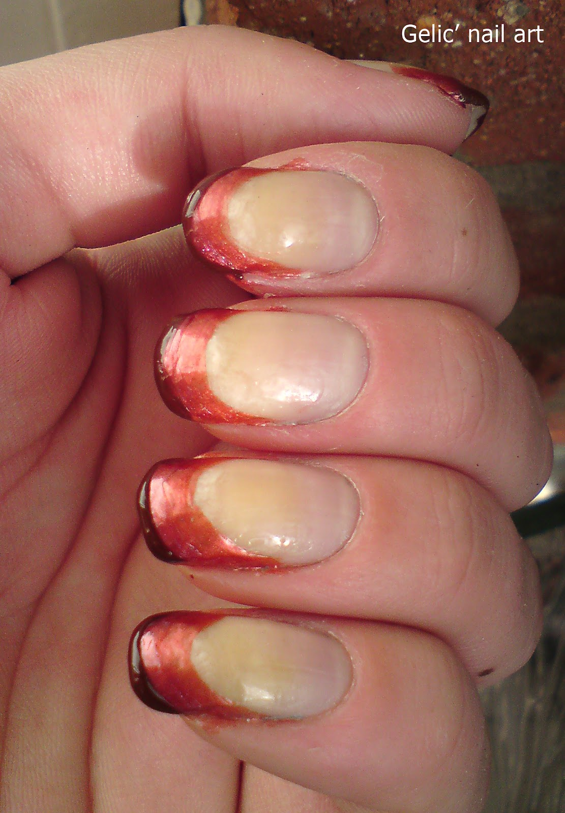 Gradient French Manicure: Gelic' Nail Art: Brown Gradient Funky French Manicure And