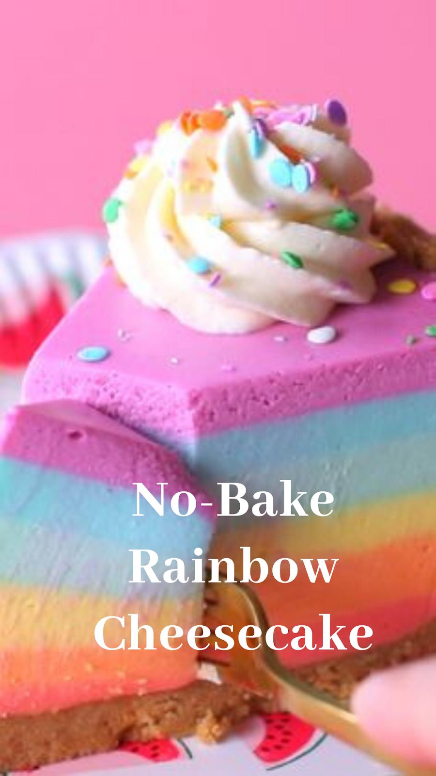 No-Bake Rainbow Cheesecake