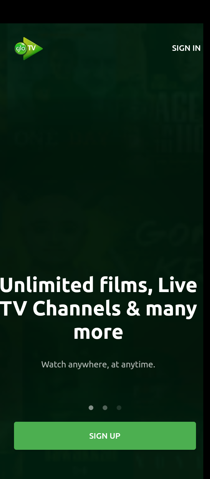 Sign up page from the GLO-TV Mobile App
