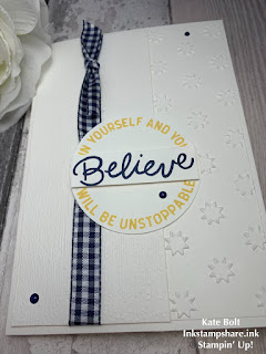 hand made card that says Believe in yourself and you will be unstoppable.
