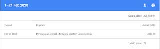 Pembayaran otomatis tertunda: Western Union sebesar US$xxx