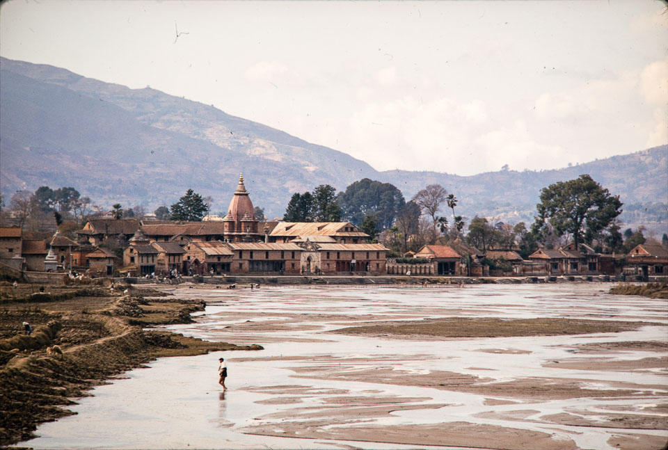 Old image of Bagmati River looking northwest near confluence with Bishnumati River.