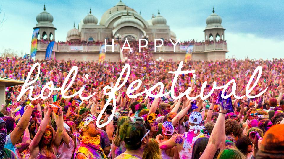 Holi Festival India 2020 - Crowd with colors of holi festival