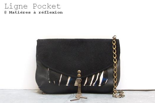 Pochette Letter Pocket cuir Zebra-noir