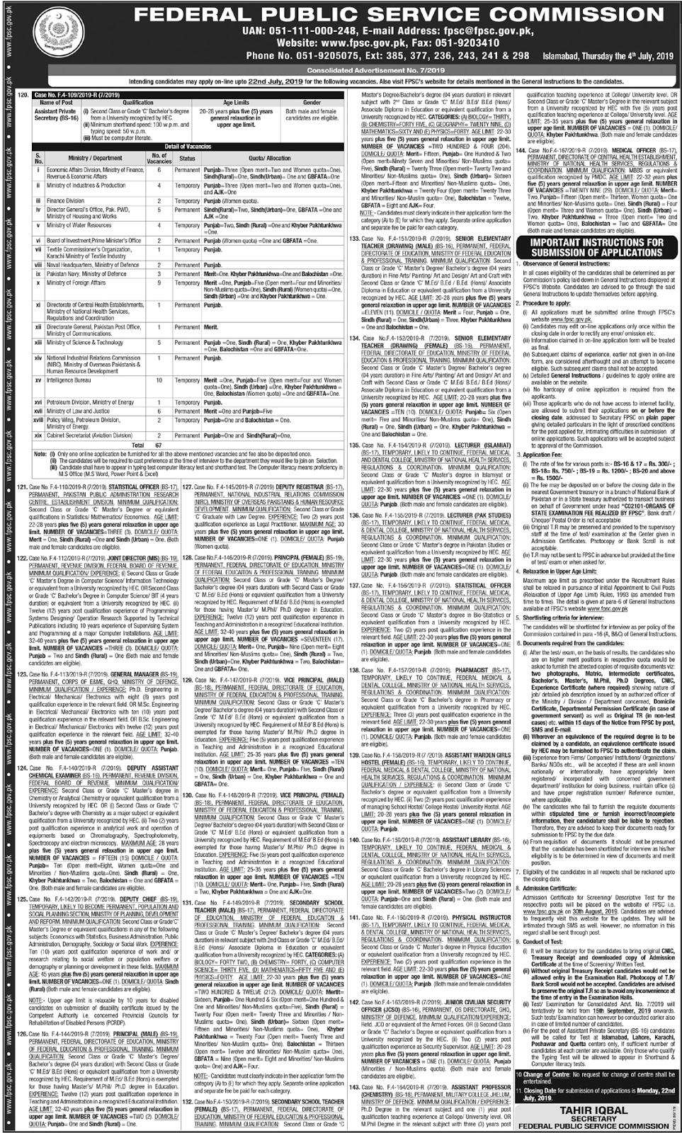 Federal Public Service Commission FPSC Latest Jobs 2019 | SST Teachers