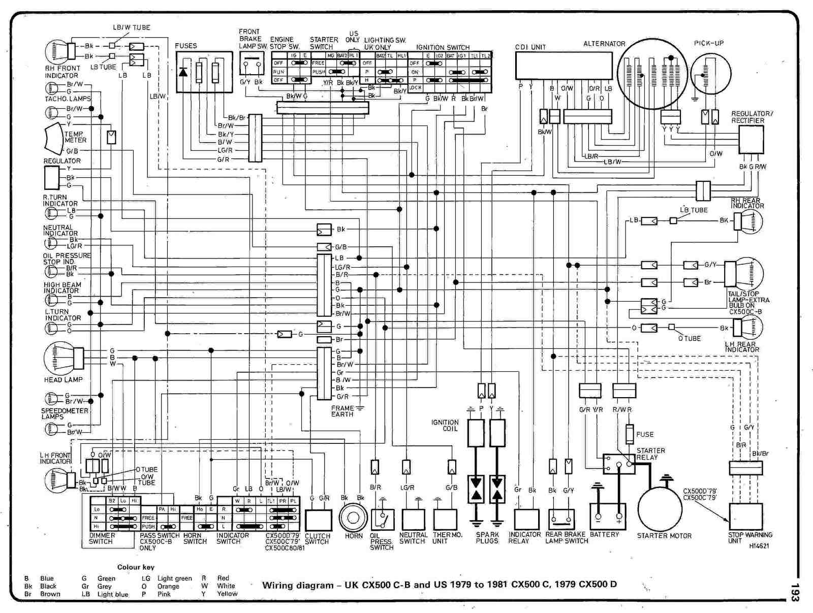 Honda CX500 CB (UK) and (US) CX500 C 197981 and 1979 CX500 D Electrical Wiring Diagram | All