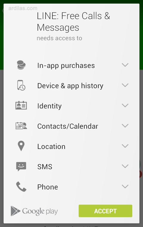 Persetujuan. tombol accept - Cara Download & Install Aplikasi Line - Android