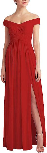 Cheap Red Chiffon Bridesmaid Dresses