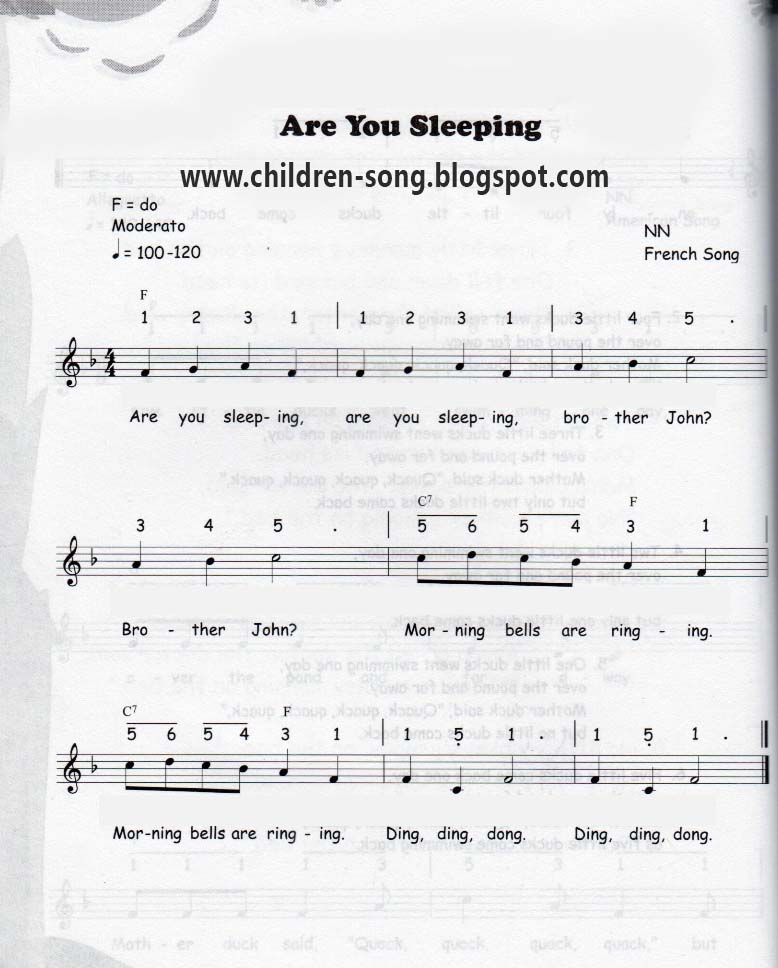 Lyric songs with numbers in lyrics : You Sleeping Song with Notes and Chords
