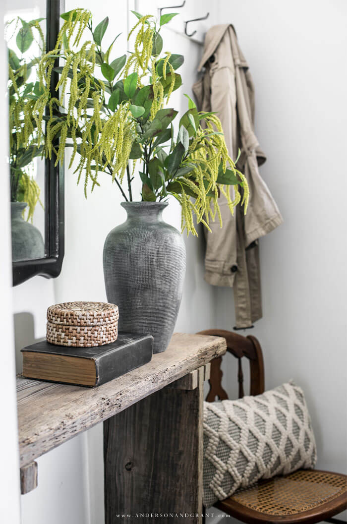 Rustic console with vignette