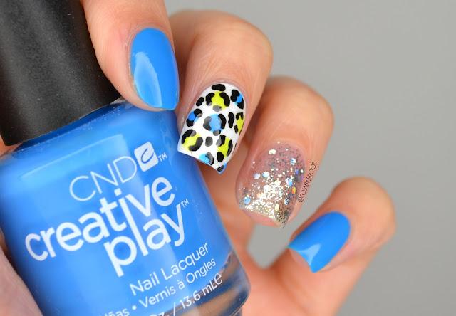 Bright Blue Leopard Nail Art