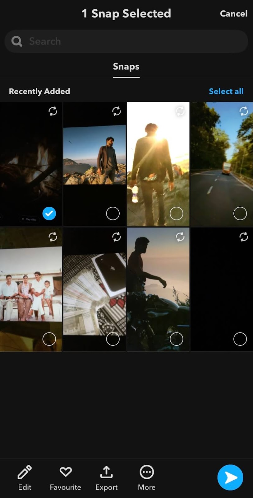 Select a snap from Memories on Snapchat