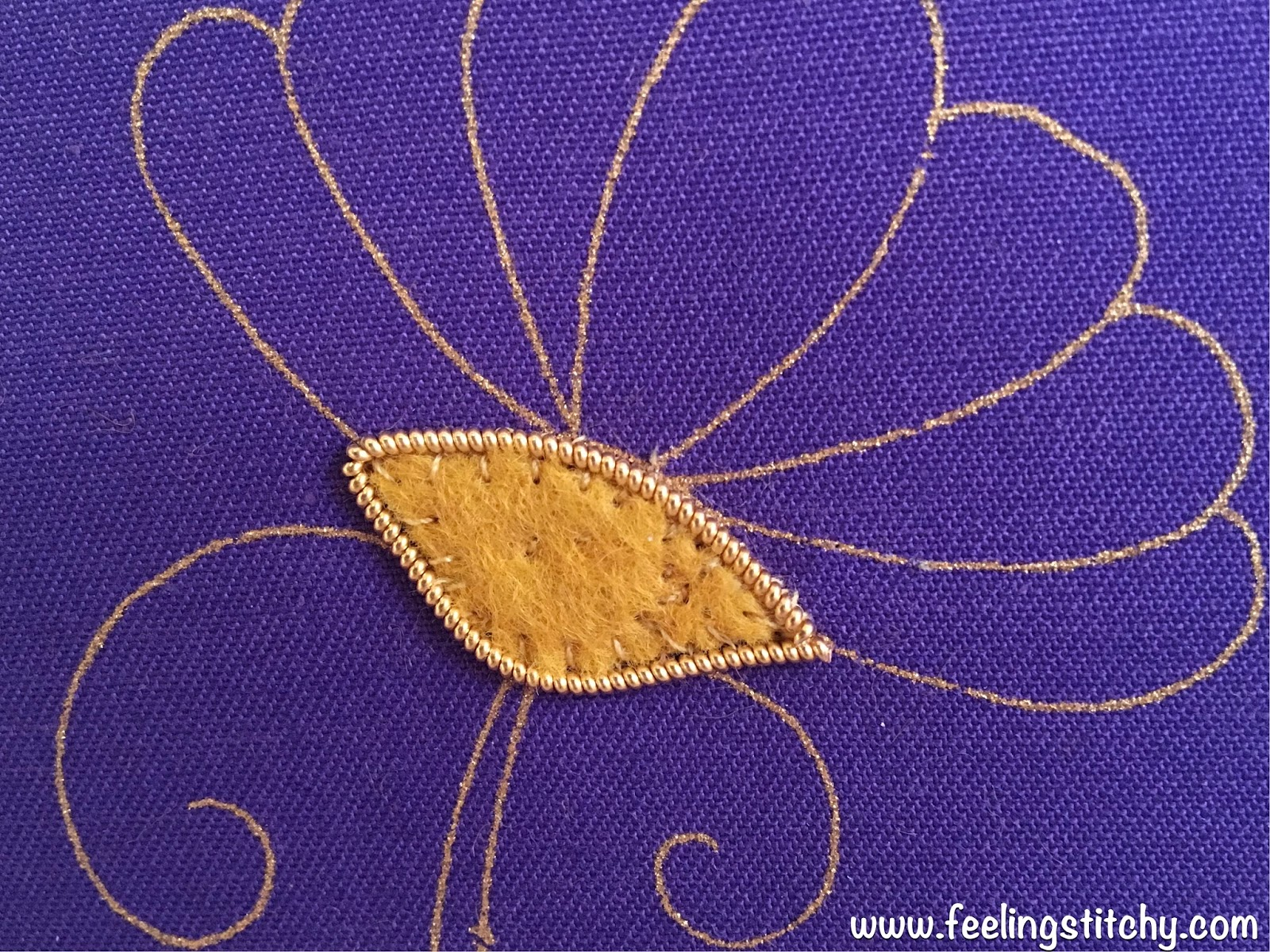 Goldwork Daisy Part 1 by Michelle for Feeling Stitchy