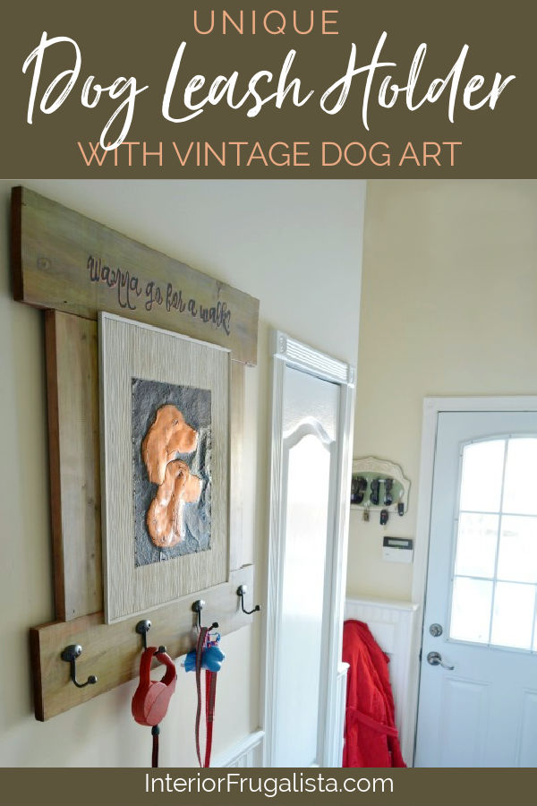 A handy wall-mount DIY Dog Leash Holder with rustic charm using fence boards and vintage copper art. Handy dog leash organization for the back door.