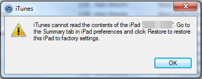 iTunes Can Not Read Sync iPhone Content