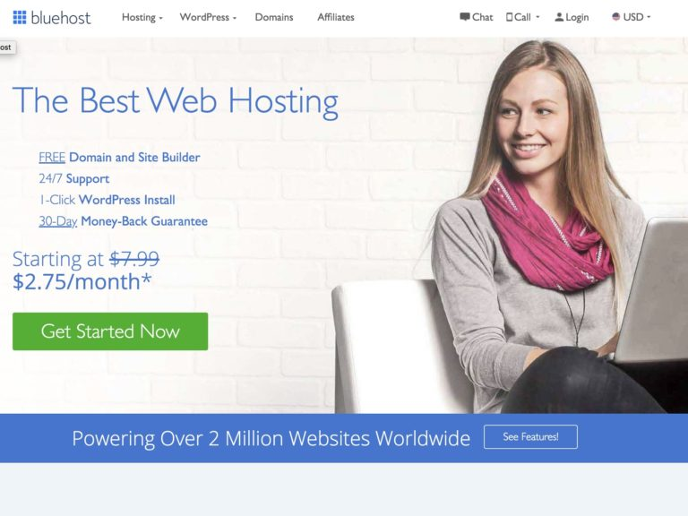 Bluehost $2.75/mo (36 months)   Renews $7.99 Review
