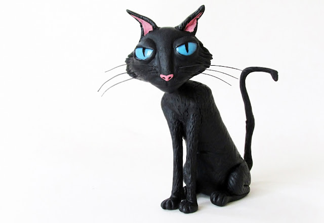 DIY: Como Fazer O Gato de Coraline- Toy Figure statue cat tutorial clay biscuit