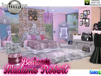 Bedroom Sensation Мадам Роберт Спальня Барокко Модерн для The Sims 4 Чтобы сменить стиль, и продолжить серию. здесь. Мадам Роберт Спальня в стиле барокко. Создан ваш очень шикарный уголок. С этими стилями мебели, очень скульптурные линии. в тонах. черный. серебро или золото. 1 двуспальная кровать 1 комод 1 склад для багажа и сумка. Категория Разное Поверхность 1 Потолочный светильник. Я создаю этот потолочный светильник с торшером. Используйте объекты BB Move для размещения над кроватью. 1 Сумочка деко 1 Сумочка деко 2 1 Напольное зеркало 1 Настенная живопись 1 Настенная живопись2 1 Манекен с платьем Деко 1 Подушки для x5 4 разных цвета 1 слой, но используйте его как стол. Автор: jomsims
