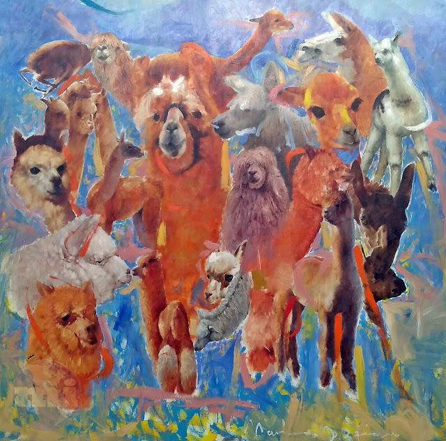 Pintura al óleo, los camélidos de Arequipa, llama, vicuña, alpaca, huanaco, etc.