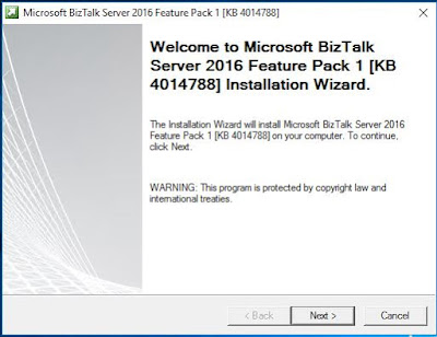 BizTalk feature Pack1 installer wizard page 1