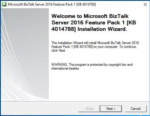 BizTalk feature Pack1 installer wizard page 1