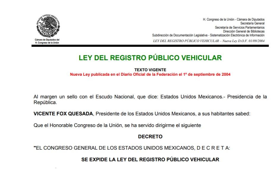 Inicio de Ley Registro Publico Hehicular en Mexico