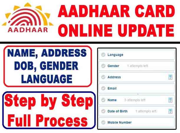 Aadhaar Card Update/Correction Online - Change Name, Address, Date of Birth, Gender & Language