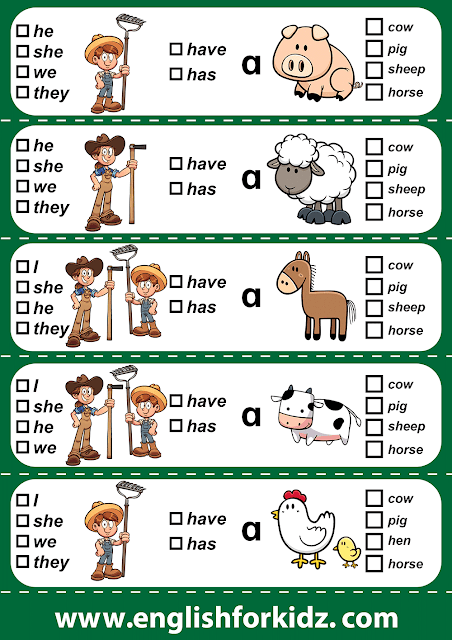 Reading comprehension grade 1, pronouns, verb have