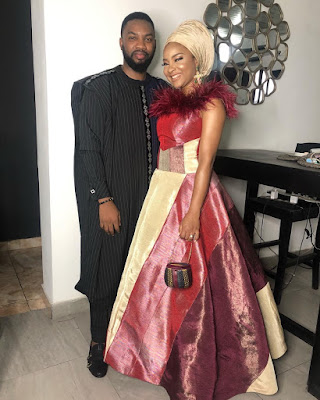 Newlyweds Linda Ejiofor and Ibrahim Suleiman step out together for #ChiefDaddyPremiere