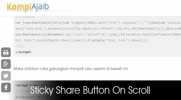 Sticky Share Button On Scroll