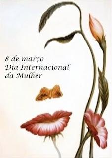 Ilustração do delineio  do perfil  esquerdo de um  rosto feminino composto por um fino caule com sinuosidade com duas folhinhas dando forma de uma sobrancelha e o contorno de um olho, uma delicada borboleta marrom remete as narinas e uma flor, forma os lábios grossos em tom avermelhado. Ao longo do contorno do rosto, outros três caules, o mais alto com uma flor em botão, o médio com uma delicada folha e o mais curto, uma flor aberta avermelhada. Ao centro lê-se: oito de março Dia Internacional da Mulher.