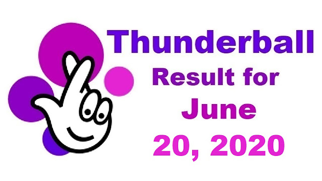 Thunderball Results for Saturday, June 20, 2020