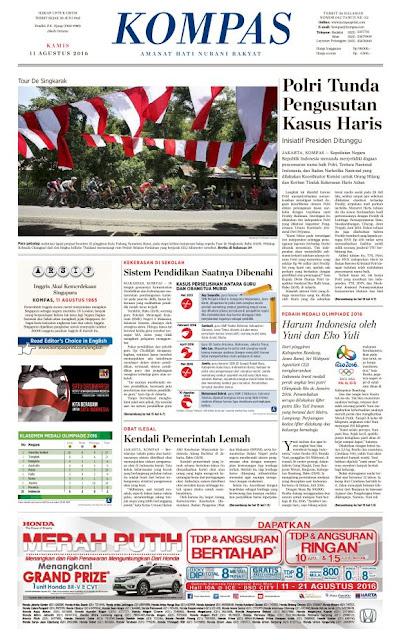 Kompas Edisi Kamis 11 Agustus 2016