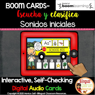 BOOM Cards Beginning Sound Sort in Spanish- Clasificando sonidos iniciales