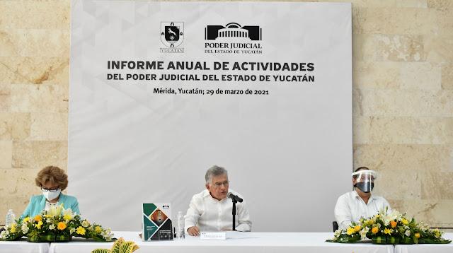 Justicia Digital ya se encuentra en marcha en Yucatán: Ávila Heredia en su Informe Anual de Actividades