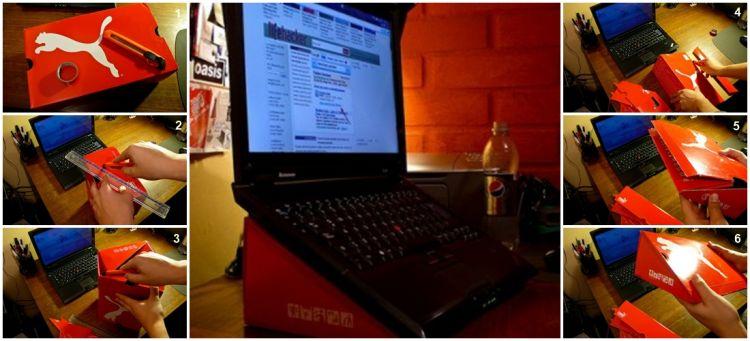 Stand laptop yang murah dari kotak sepatu