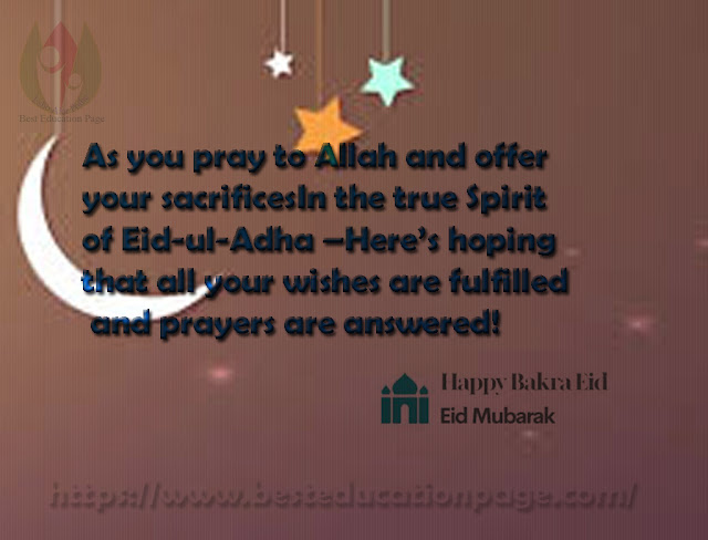 As you pray to Allah and offer your sacrificesIn the true Spirit of Eid-ul-Adha –Here's hoping that all your wishes are fulfilled and prayers are answered!