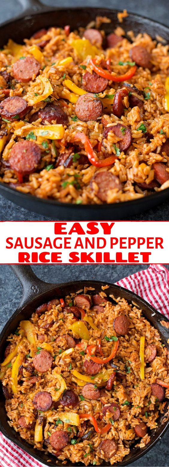 Easy Sausage and Peppers Rice Skillet | Dinner Recipes Healthy, Dinner Recipes Easy, Dinner Recipes For Family, Dinner Recipes Vegan, Dinner Recipes Crockpot, Dinner Recipes Chicken, Dinner Recipes With Ground Beef, Dinner Recipes Quick, Dinner Recipes Vegetarian, Dinner Recipes Pasta, Dinner Recipes Keto,Dinner Recipes Low Carb, Dinner Recipes Italian, Dinner Recipes Weeknight, Dinner Recipes Simple, Dinner Recipes Best, Dinner Recipes Delicious. #dinnerrecipes #easyrecipes #riceskillet