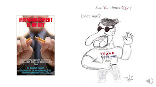 photo of book cover and Trump supporter caricature drawing for article with sample chapter from hilarious Trump satire: Mismanagement Is an Art