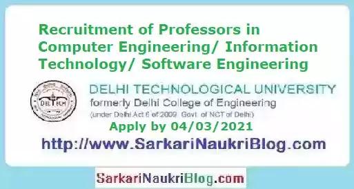 DTU Professor Vacancy Recruitment 2021
