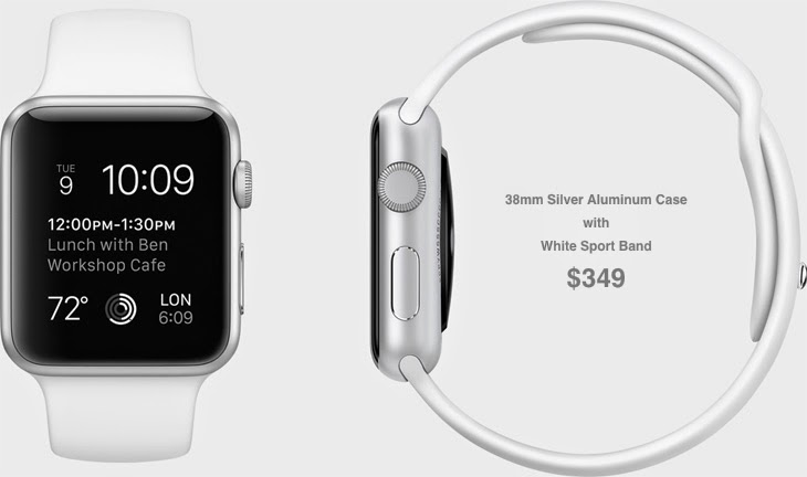 38mm Silver Aluminum Case with White Sport Band $349