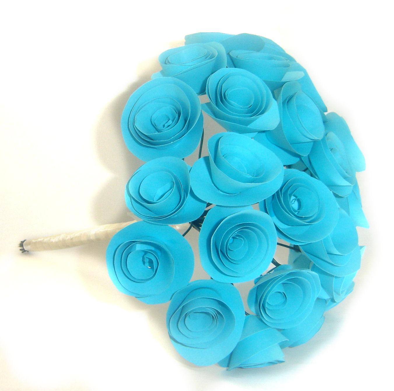 Things We Love Today Buchet De Mireasa Din Hartie Bleu