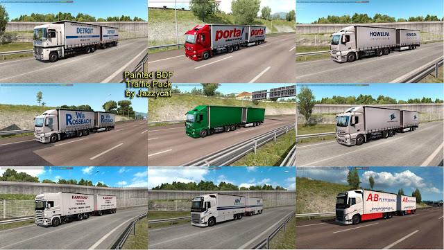 ets 2 painted bdf traffic pack v5.7 by jazzycat screenshot, new painted bdf trucks