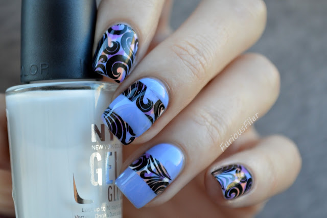 #31dc2015 partial stamping swirls stripes nail art