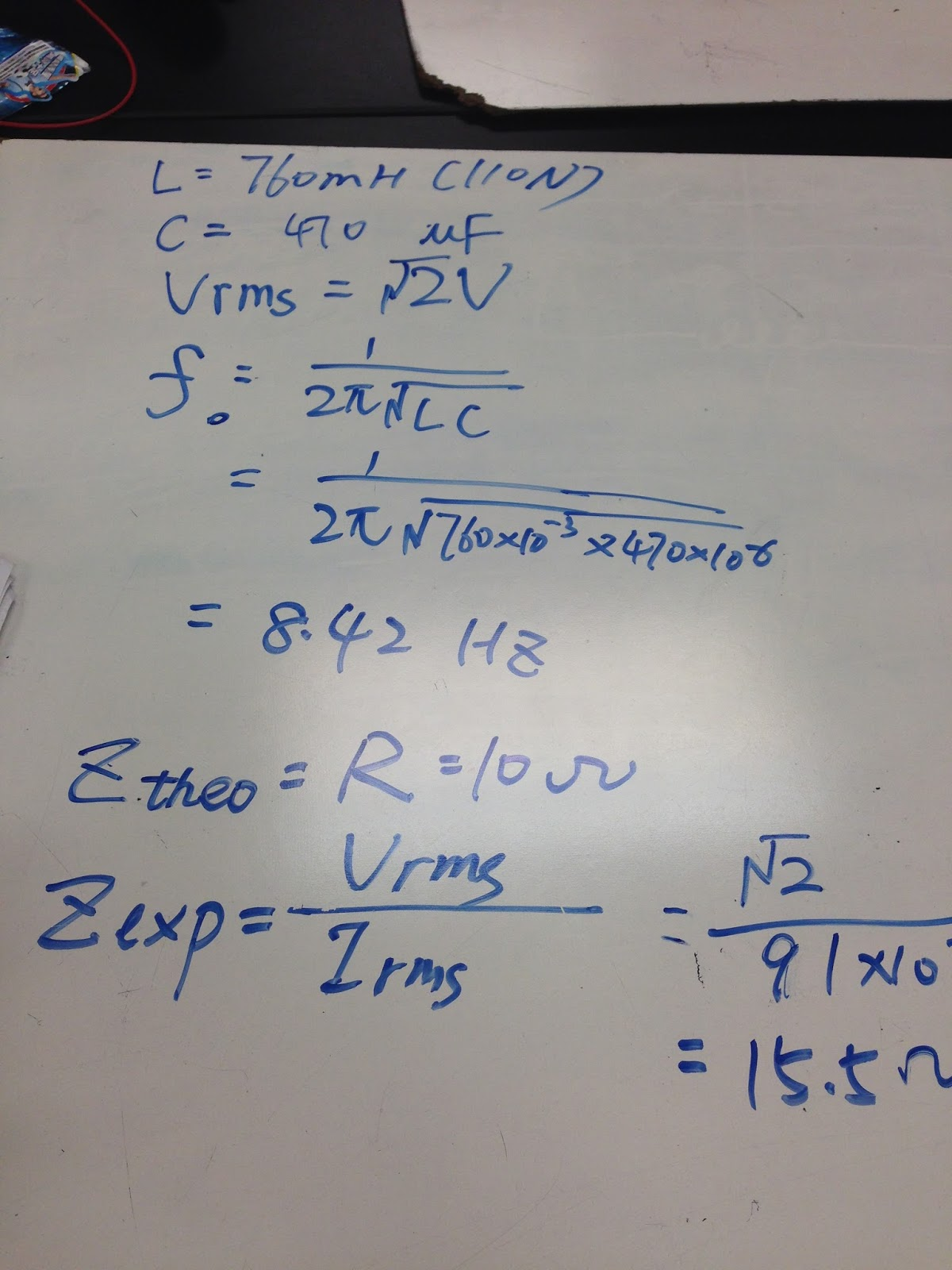 Physics 4b Cliu June 2015 Resistorinductor Circuits Reactance And Impedance Inductive The Experiment Was Repeated With An Rlc Circuit By Connecting A Resistor Inductor Capacitor To Results In White Board On