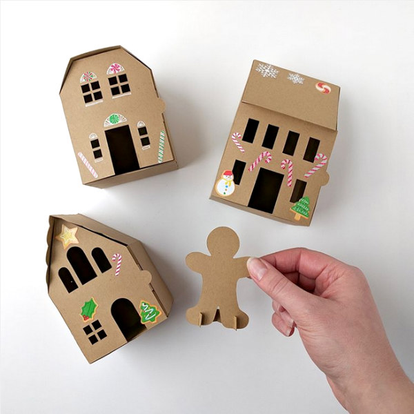paper craft gingerbread house kit with stickers and gingerbread man