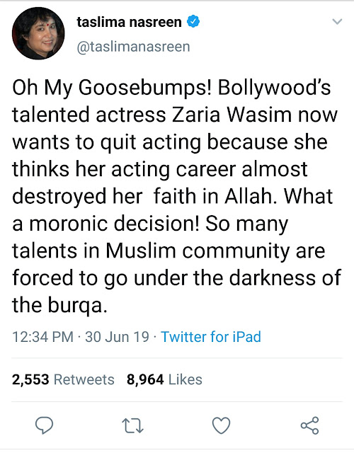 Taslima Nasreen on Zaira Wasim stopping films because of religion: What an idiotic choice