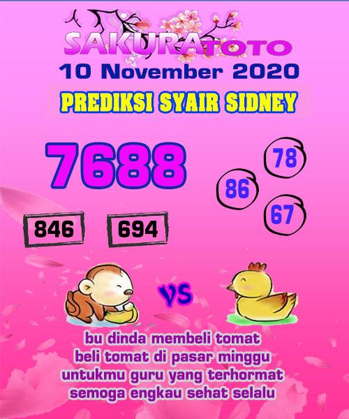 Syair Sakuratoto Sidney Selasa 10 November 2020