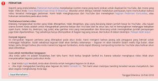 Teguran & Penghapusan Video  Youtube Channel