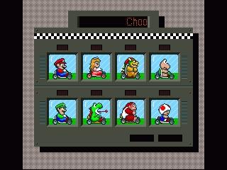 Captura de pantalla de la Super Nintendo con la elección de los 8 protagonistas jugables